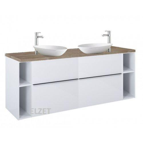 Elita szafka look 2s white pod 2 umywalki nablatowe + moduły otwarte + blat 160 dąb classic 2x167077+2x167101+166904