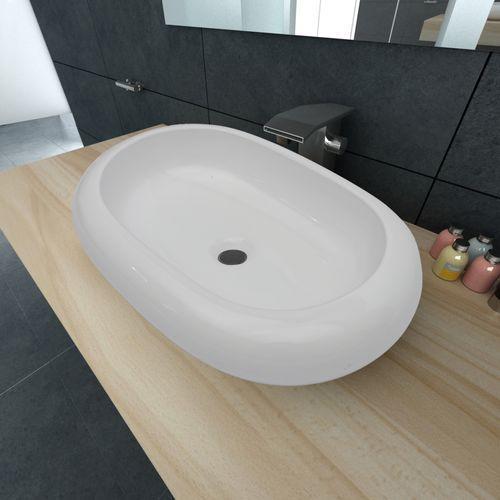 vidaXL Luksusowa umywalka owalny kształt 63 x 42 cm biała