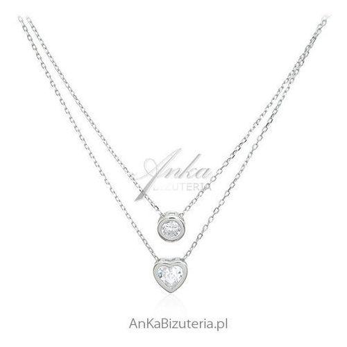 Naszyjnik srebrny z cyrkoniami - Piękny podwójny naszyjnik, kolor szary