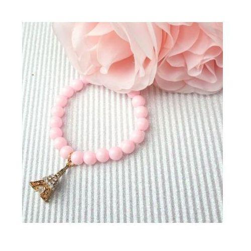 Kasandra Bransoletka koraliki charms pudrowy róż wieża eiffla b376