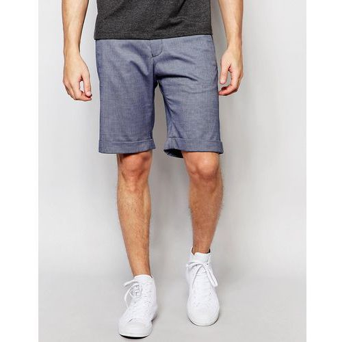 Selected Homme Skinny Cotton Shorts with Turn Up and Stretch - Blue