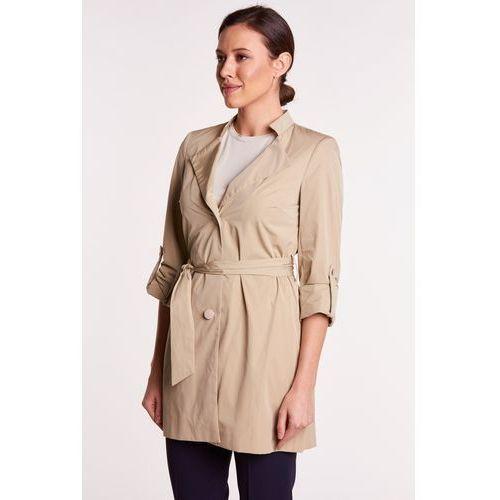 Pudełkowy płaszcz w beżowym kolorze - L'ame de Femme, 1 rozmiar