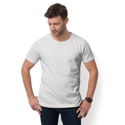Męska koszulka z luźnym dekoltem (bez nadruku, gładka) - biała
