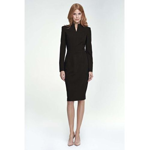 87f6243516 Czarna Sukienka Midi z Rozcięciem przy Dekolcie