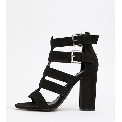 New look wide fit multi strap block heel sandal - black