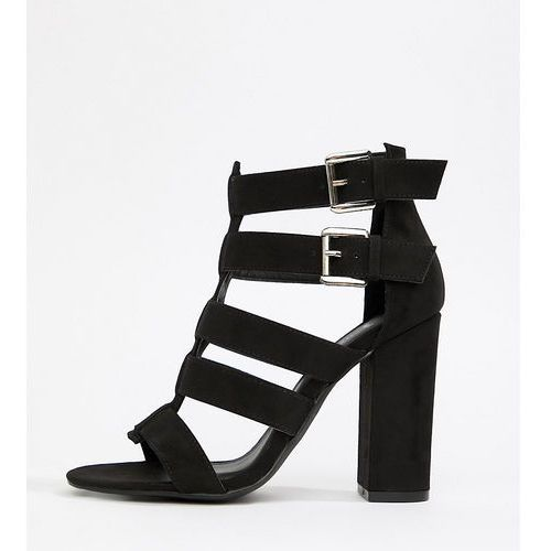 wide fit multi strap block heel sandal - black, New look