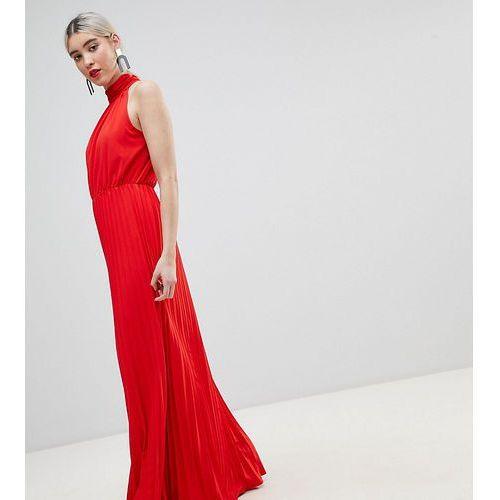 high neck pleated maxi dress - red marki Boohoo