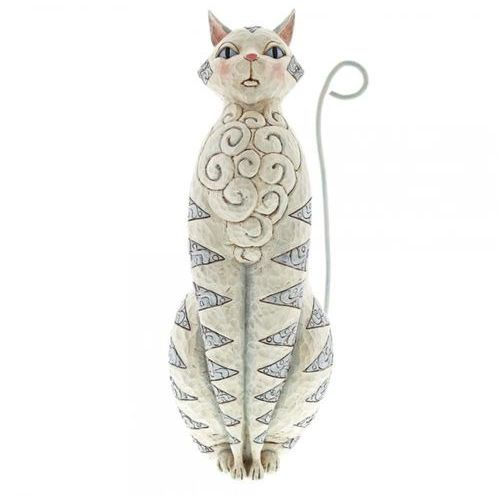 Jim shore Biały duży kot 47 cm white cat garden statue 6001603 kotek vintage biały