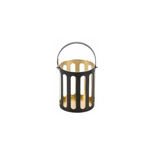 Świecznik lampion metalowy na świeczkę wys. 13 cm czarno-złoty marki Hanmar