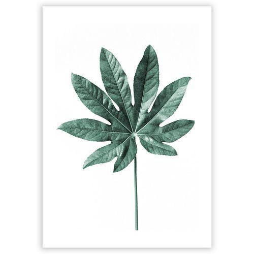 plakat leaf emerald green, 40 x 50 cm marki Dekoria