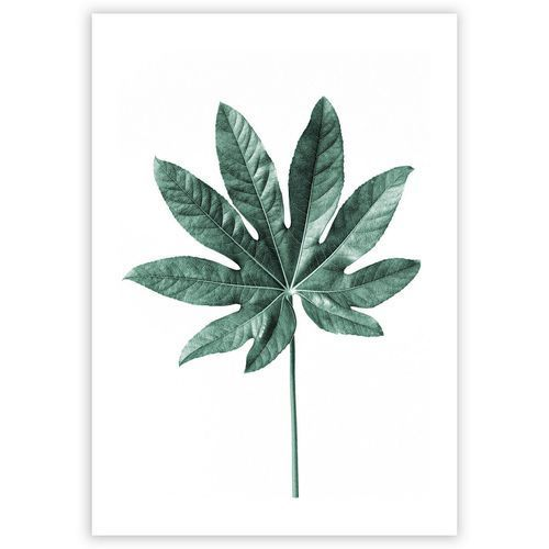 plakat leaf emerald green, 70 x 100 cm marki Dekoria