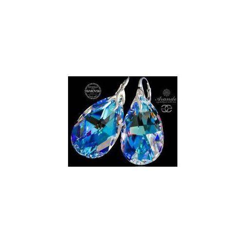 SWAROVSKI kolczyki BLUE AURORA HOLOGRAM SREBRO