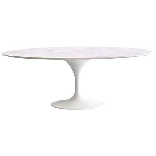 Stół TULIP ELLIPSE MARBLE biały - blat owalny marmurowy, metal