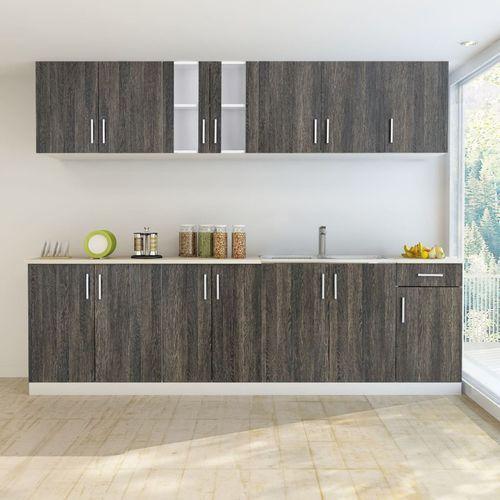 vidaXL Zestaw szafek kuchennych 8 sztuk z częścią na zlew w kolorze wenge (8718475891093)