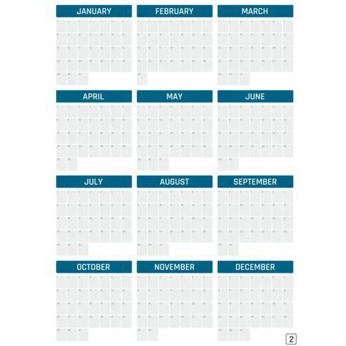Kalendarz suchościeralny roczny uniwersalny wersja angielska 376