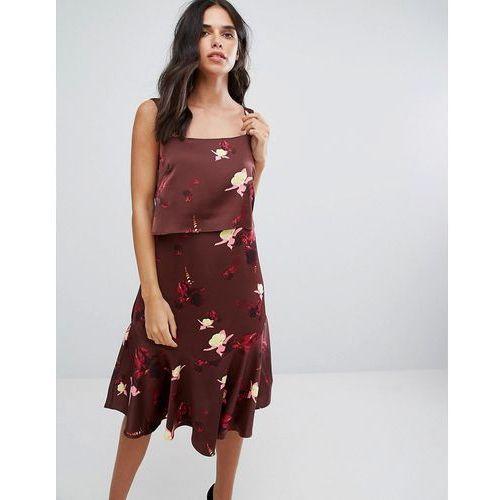 Y.A.S Printed Strap Dress - Brown, kolor brązowy