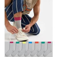 ASOS DESIGN Socks In Grey With Bright Colour Welts & Branded Soles 7 Pack - Grey