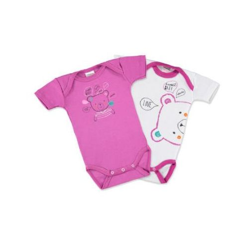 ABSORBA Girls Baby Body z krótkim rękawem, 2 szt., kolor różowy/biały, kolor różowy