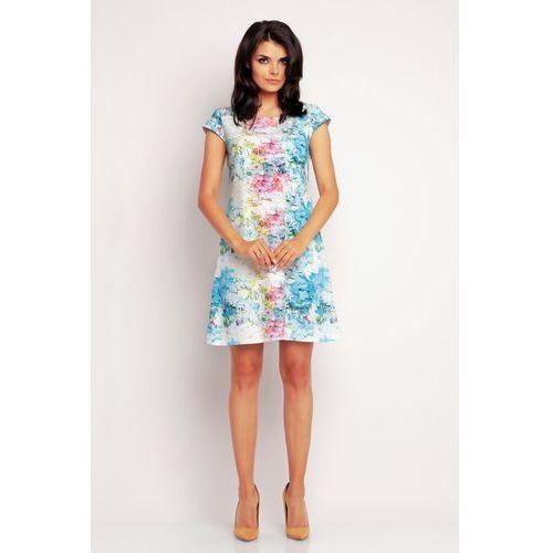 Letnia Niebieska Sukienka z Kwiatową Grafiką, w 4 rozmiarach