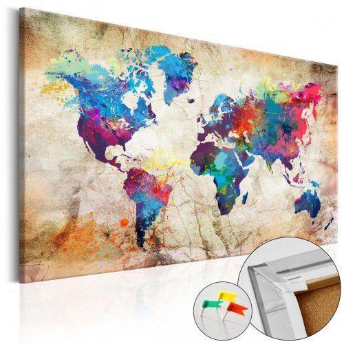 Artgeist Obraz na korku - mapa świata: styl miejski [mapa korkowa]