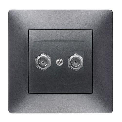 ELEKTROPLAST VOLANTE Gniazdo 2xTV typ F-F Grafitowy 2687-08