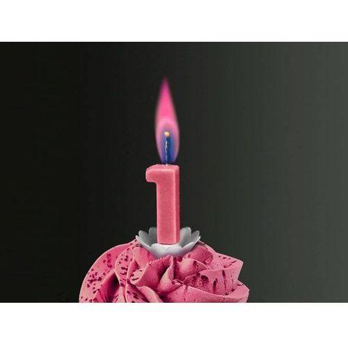 """Świeczka cyferka jedynka """"1"""" z różowym płomieniem - 1 szt. marki Sens"""