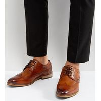 Asos wide fit brogue shoes in tan polished leather - tan