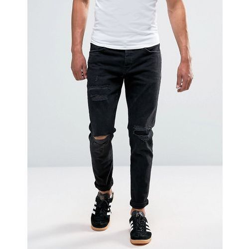 River Island Slim Tapered Jeans With Distressing In Black - Black - sprawdź w wybranym sklepie