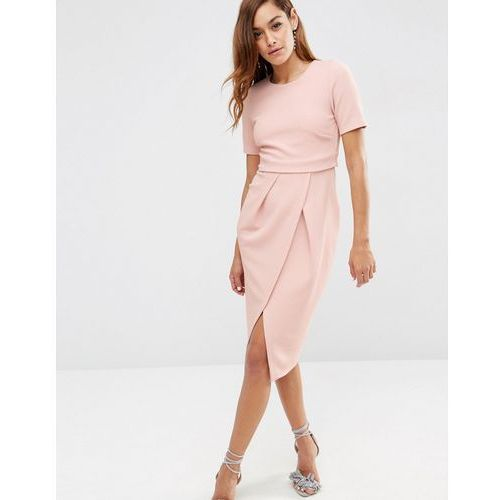 Asos  double layer textured wiggle dress - pink