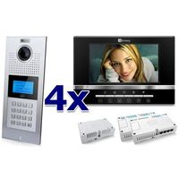 Zestaw wideodomofonowy 4 rodzinny panel c5 c9e21l-c, 4x monitor c5 v13, akcesoria marki Genway