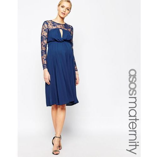 ASOS Maternity Kate Midi Dress With Lace Sleeves - Navy