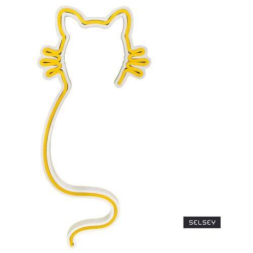 neon na ścianę letely w kształcie kota żółty marki Selsey