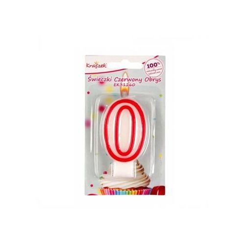 Kraszek Świeczka cyferka z czerwoną obwódką - 0 - zero.