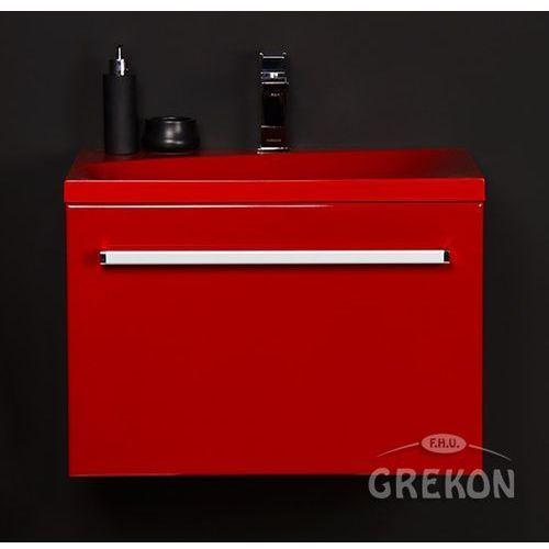 Czerwona szafka wisząca z umywalką 60/39MCZ seria Fokus CZ
