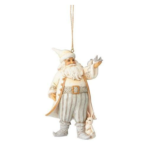 Mikołaj zawieszka white woodland santa with bird (hanging ornament) 6001419 marki Jim shore
