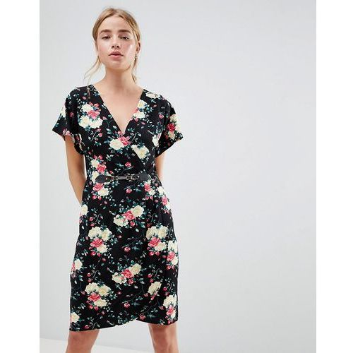 floral print kimono sleeve dress with wrap front - black marki Qed london