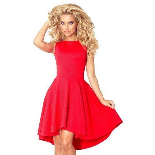 66-12 Ekskluzywna sukienka z dłuższym tyłem - CZERWONA, 1 rozmiar