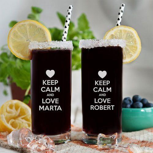 Keep calm and love me - Dwie grawerowane szklanki - Szklanki