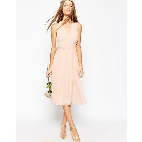 ASOS WEDDING Hollywood Midi Dress - Pink, kolor różowy