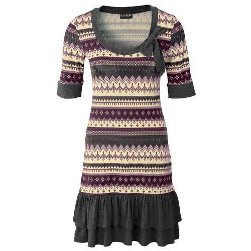 Sukienka szaro-jeżynowy, Bonprix, 32-46
