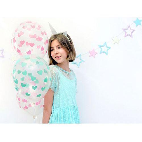 """Balony 14"""" strong crystal w zielone serduszka, 6 szt. marki Party world"""