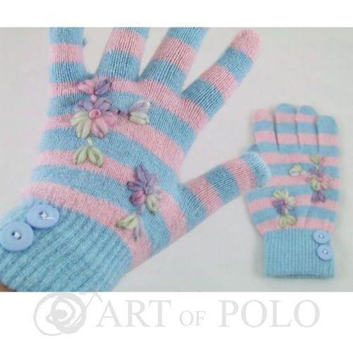 Niebiesko-różowe elastyczne rękawiczki damskie - niebieski   różowy