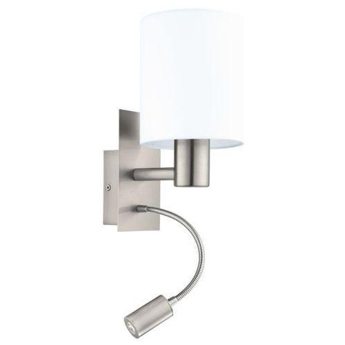 Kinkiet pasteri 96477 lampa ścienna 1x40w e27 + 1x3,5w led biały/nikiel marki Eglo