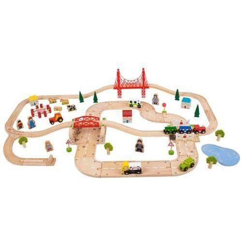 Kolejka drewniana dla dzieci - zestaw drogowo – kolejowy marki Bigjigs toys