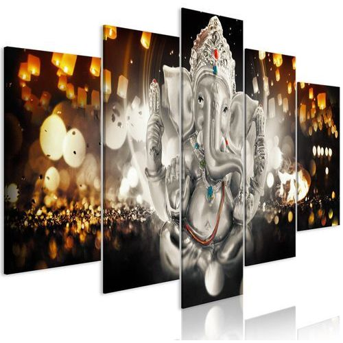 Artgeist Obraz - filozofia buddy (5-częściowy) srebrny szeroki