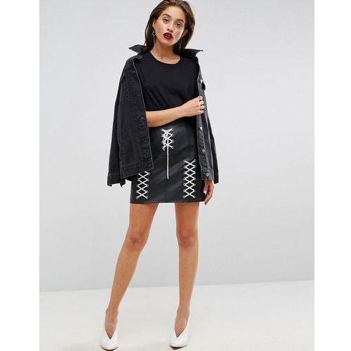 leather look mini skirt with lace up detail - black, Asos