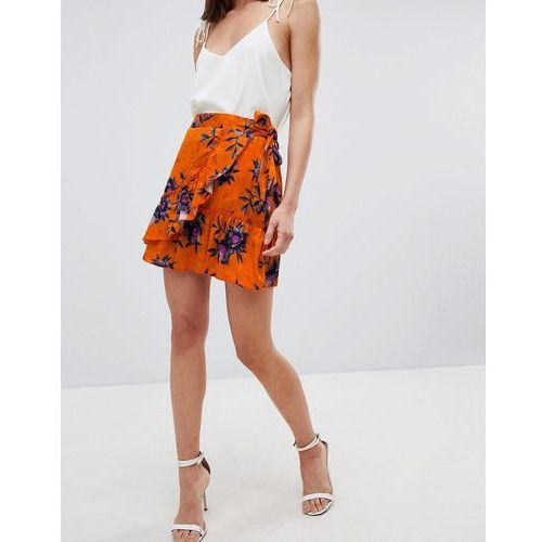 River Island Floral Print Wrap Front Mini Skirt - Orange, kolor pomarańczowy