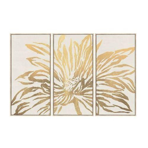 Duży obraz drukowany w ramie lilia – 180 × 120 × 4 cm (dł. × szer. × wys.) – kolor złoty marki Vente-unique