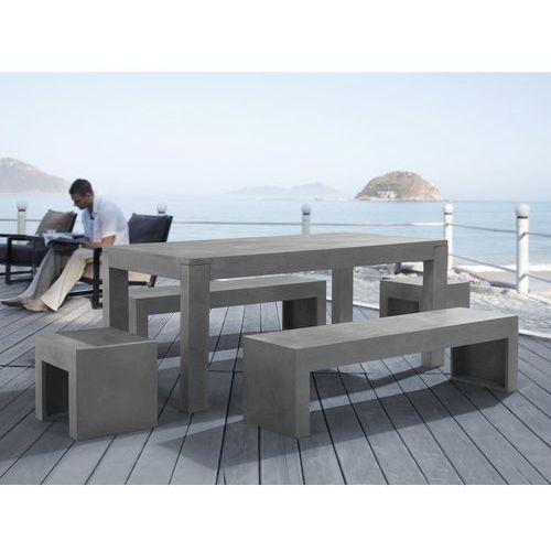 Zestaw mebli ogrodowych - Beton - Stoł 2 ławki 2 krzesła - TARANTO