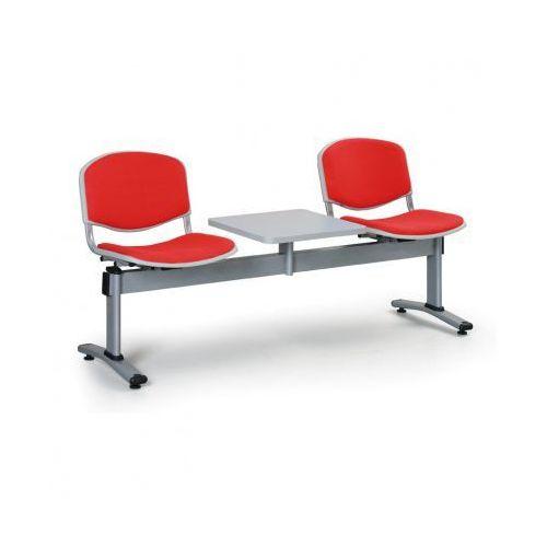 Ławka do poczekalni LIVORNO, tapicerowana 2 siedzenia + stołek, czerwony